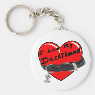 I Love My Dachshund Heart with Dog Collar Keychain
