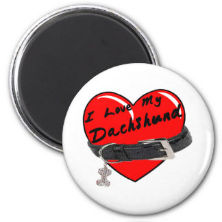 I Love My Dachshund Heart with Dog Collar 2 Inch Round Magnet