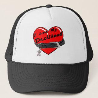 I Love My Dachshund Heart with Dog Collar Trucker Hat