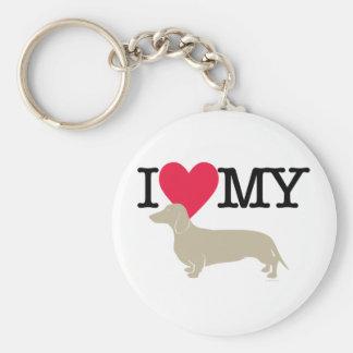 I Love My Dachshund ! Basic Round Button Keychain