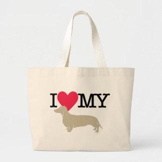 I Love My Dachshund ! Large Tote Bag