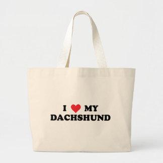 I Love My Dachshund Large Tote Bag