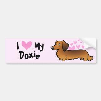 I Love My Dachshund (longhair) Bumper Stickers
