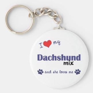 I Love My Dachshund Mix (Female Dog) Keychains