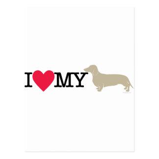 I Love My Dachshund ! Postcard