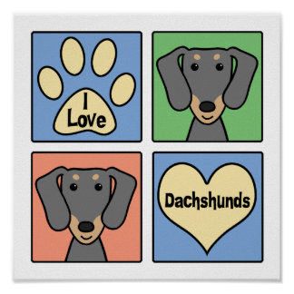 I Love My Dachshund Poster