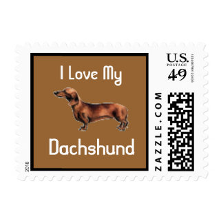I Love My Dachshund Puppy Postage Stamp