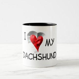 I Love My Dachshund Two-Tone Coffee Mug