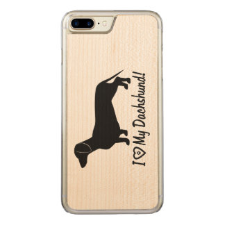 I Love my Dachshund with Paw Print Carved iPhone 8 Plus/7 Plus Case