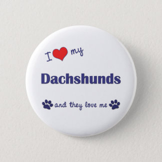 I Love My Dachshunds (Many Dogs) Pinback Button