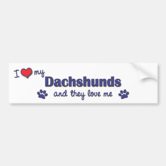 I Love My Dachshunds (Multiple Dogs) Bumper Sticker
