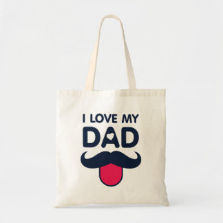 I love my dad cute mustache icon tote bag