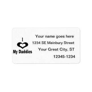 I love my daddies Daddy design with heart Custom Address Label