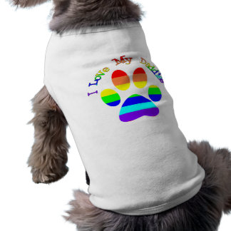 I Love My Daddies Rainbow Paw Dog Tees
