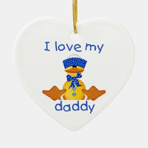 I Love My Daddy (boy ducky) Double-Sided Heart Ceramic Christmas Ornament