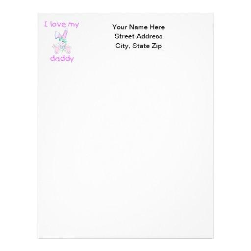 I Love My Daddy (girl bunny) Letterhead Template