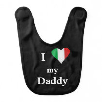 I Love My Daddy Italian Heart Black Baby Bib