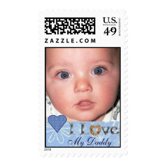 I love my Daddy Photo Postage Stamp with Hearts
