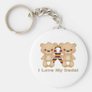 I Love My Dads Basic Round Button Keychain