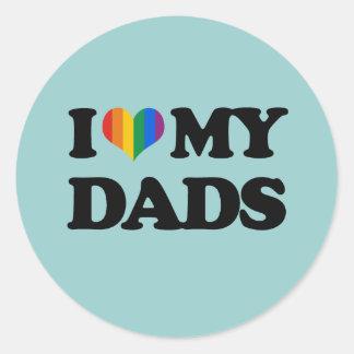 I love my dads round sticker