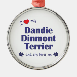 I Love My Dandie Dinmont Terrier (Female Dog) Ornament