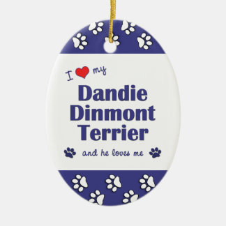 I Love My Dandie Dinmont Terrier (Male Dog) Christmas Tree Ornament