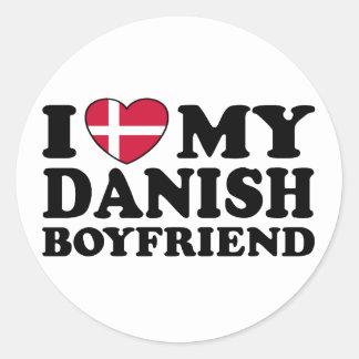 I Love My Danish Boyfriend Classic Round Sticker