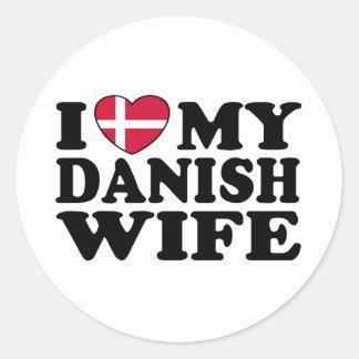 I Love My Danish Wife Classic Round Sticker