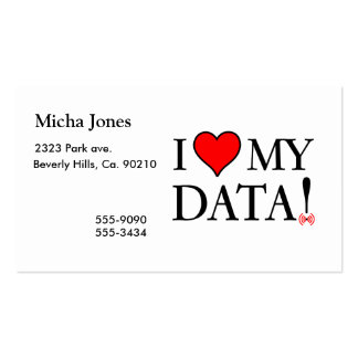 I Love My Data Double-Sided Standard Business Cards (Pack Of 100)