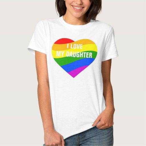 I Love My Daughter Rainbow Colors Heart Tee Shirt