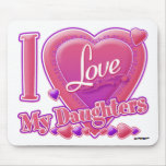 I Love My Daughters pink/purple - heart Mousepad