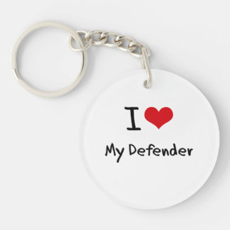 I Love My Defender Double-Sided Round Acrylic Keychain