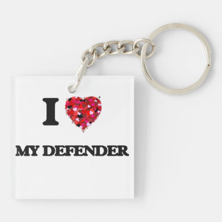I Love My Defender Double-Sided Square Acrylic Keychain
