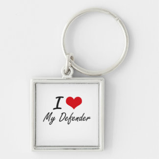I Love My Defender Silver-Colored Square Keychain