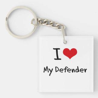 I Love My Defender Single-Sided Square Acrylic Keychain