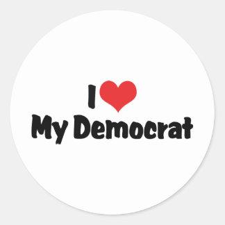 I Love My Democrat Classic Round Sticker