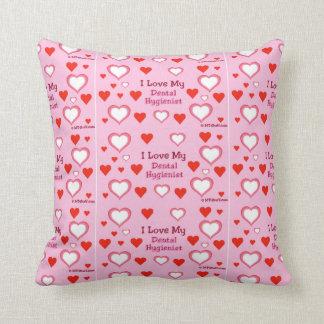 I Love My Dental Hygienist - Hearts Throw Pillow