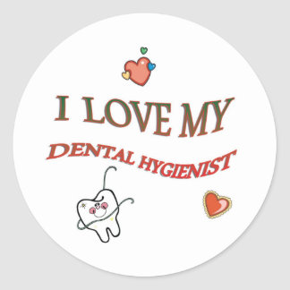 I LOVE MY DENTAL HYGIENIST CLASSIC ROUND STICKER