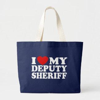 I Love My Deputy Sheriff Large Tote Bag