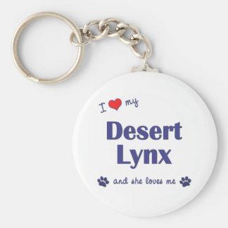 I Love My Desert Lynx (Female Cat) Basic Round Button Keychain