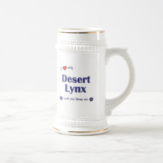 I Love My Desert Lynx (Female Cat) 18 Oz Beer Stein