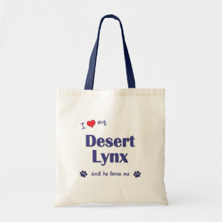 I Love My Desert Lynx (Male Cat) Budget Tote Bag