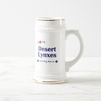 I Love My Desert Lynxes (Multiple Cats) 18 Oz Beer Stein