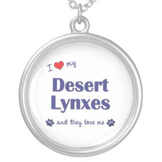 I Love My Desert Lynxes (Multiple Cats) Round Pendant Necklace