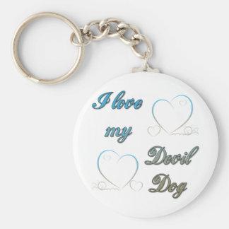 I Love My Devil Dog Key Chains