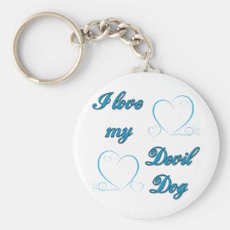 I Love My Devil Dog Keychain