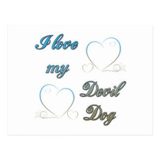 I Love My Devil Dog Postcard