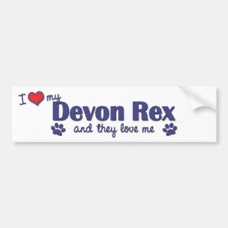 I Love My Devon Rex (Multiple Cats) Bumper Sticker