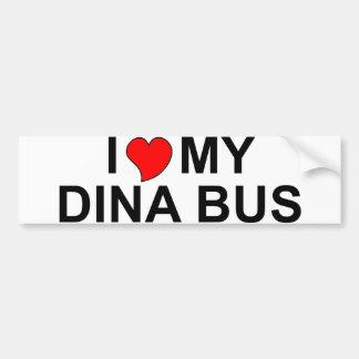 I Love My Dina Bus Bumper Stickers
