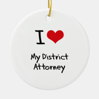 I Love My District Attorney Double-Sided Ceramic Round Christmas Ornament